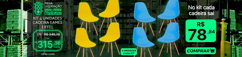 MEGA LIQUIDAÇÃO SINAL VERDE Vestcasa KIT 4 UNIDADES CADEIRA EAMES EIFFEL várias cores 4 UNIDADES CADA KIT No kit cada cadeira sai COMPRAR