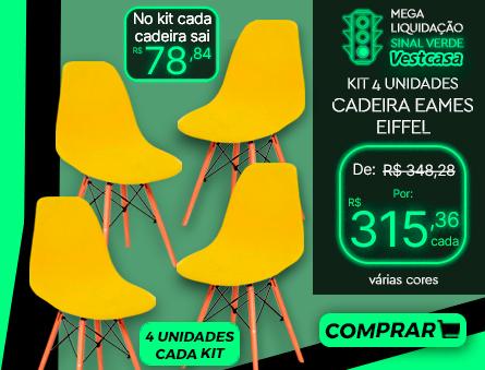 No kit cada cadeira sai 4 unidades cada kit MEGA LIQUIDAÇÃO SINAL VERDE Vestcasa 4 UNIDADES CADEIRA EAMES EIFFEL várias cores COMPRAR