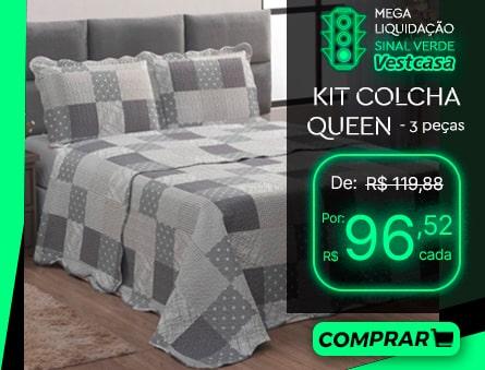 MEGA LIQUIDAÇÃO SINAL VERDE Vestcasa KIT COLCHA QUEEN - 3 peças COMPRAR