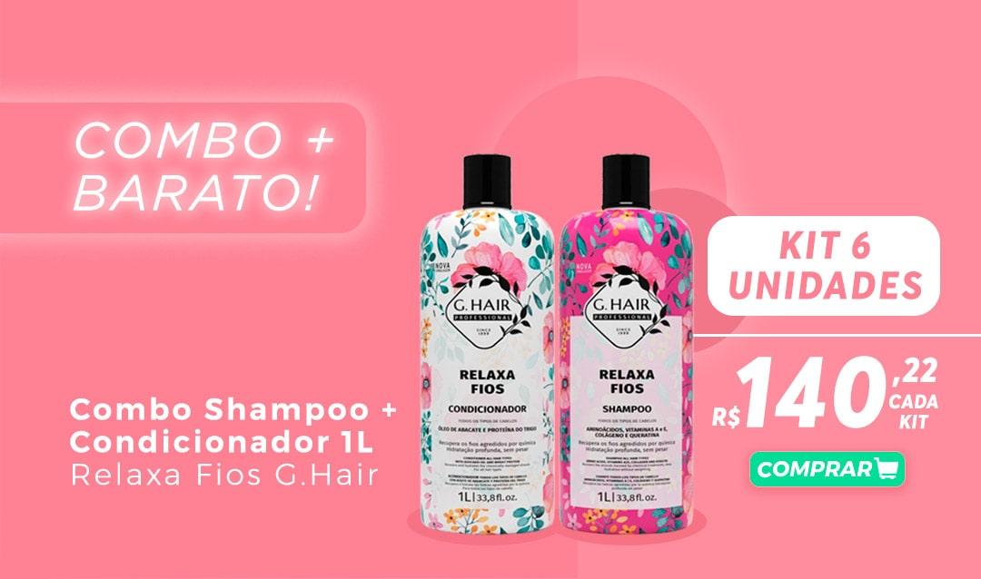 Combo Shampoo + condicionador 1L relaxa fios g.hair kit 6 unidades R$140,22 cada kit