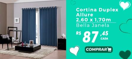Mês das Mães vestcasa - Cortina Duplex Allure 2,60x 1,70m Bella Janela R$87,45 cada