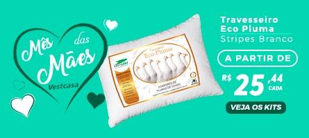 Mês das Mães vestcasa - Travesseiro Eco Pluma Stripes Branco a partir de R$25,44 cada